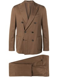 Lardini Double Breasted Suit Jacket Brown