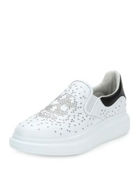 Alexander Mcqueen Skull Embellished Leather Skate Shoe White Black White Black
