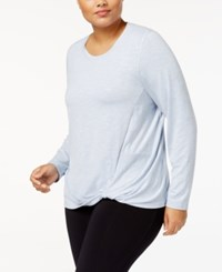 Ideology Plus Size Super Soft Knotted Top Created For Macy's Zen Blue