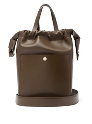 Sophie Hulme Knot Leather Shoulder Bag Dark Brown
