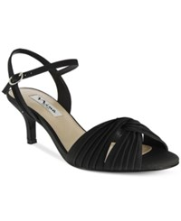 Nina Camille Two Piece Mid Heel Evening Sandals Women's Shoes Black