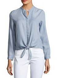 Saks Fifth Avenue Front Tie Solid Top Blue