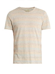 Oliver Spencer Conduit Pinstriped Cotton Jersey T Shirt Beige Multi