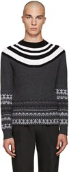 Neil Barrett Grey Retro Fair Isle Sweater