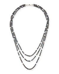 Margo Morrison Three Strand Faceted Gray Pearl Necklace
