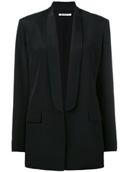 Alexander Wang Shawl Collar Blazer Women Silk Polyester 8 Black
