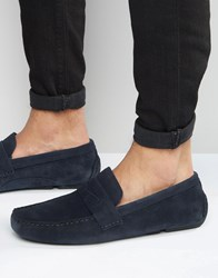 Red Tape Driving Shoes In Navy Suede Blue