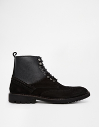 Selected Homme Shearling Look Brogue Boots Black