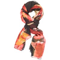 Chesca Abstract Floral Printed Crinkle Chiffon Scarf Black Red