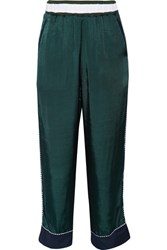 Facetasm Embroidered Satin Straight Leg Pants Petrol