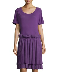 See By Chloe Pleated Skirt Short Sleeve Dress Purple