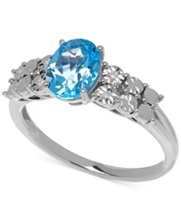 Macy's Blue Topaz 1 3 8 Ct. T.W And Diamond Accent Ring In 14K White Gold