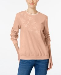 Alfred Dunner Embroidered Fleece Sweater Rose