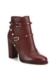 Valentino Rockstud Pebbled Leather Block Heel Booties Wine