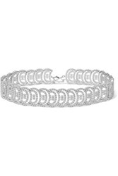 Kenneth Jay Lane Silver Tone Cubic Zirconia Choker One Size