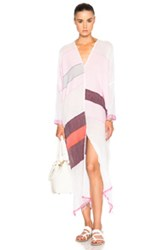 Lemlem Eve Long Open Back Caftan In Pink Stripes
