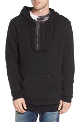 True Religion Men's Brand Jeans Distressed Pullover Hoodie Black