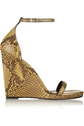 Saint Laurent Jane Python Wedge Sandals