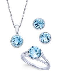 Macy's Blue Topaz Rope Style Pendant Necklace Stud Earrings And Ring Set 5 Ct. T.W. In Sterling Silver