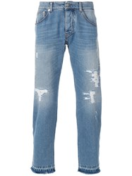 Ermanno Scervino Distressed Straight Jeans Blue