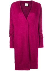 Alysi Long Fitted Cardigan Pink And Purple