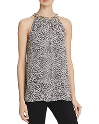 Joie Katella Beaded Halter Silk Print Blouse Caviar