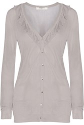 Valentino Ruffled Trimmed Fine Knit Cardigan Gray