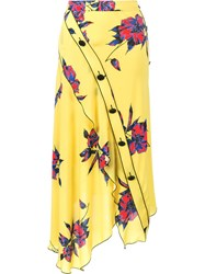 Proenza Schouler Asymmetric Floral Print Skirt Yellow Orange