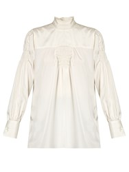 Valentino High Neck Smock Trimmed Silk Blouse Ivory