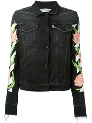 Off White Rose Embroidered Denim Jacket Women Cotton Polyester Spandex Elastane S Black
