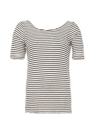 Garcia Striped Top With Layered Back White