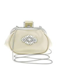 Badgley Mischka Addison Jeweled Wristlet Soft Pouch Ivory
