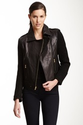 French Connection Mixed Moto Leather Jacket Black