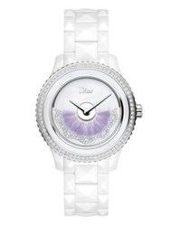 Christian Dior Dior Viii Grand Bal Diamond Feather And Ceramic Bracelet Watch White