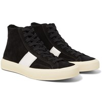 Tom Ford Cambridge Leather Trimmed Suede High Top Sneakers Black