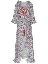 All Things Mochi Floral Print Maxi Wrap Dress Pink And Purple