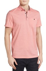 Ted Baker Men's London Cocoa Contrast Collar Stripe Polo Coral