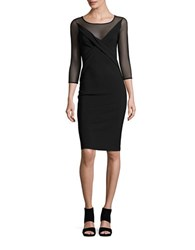 La Petite Robe Di Chiara Boni Sheer Neckline Pleated Three Quarter Sheath Dress Black