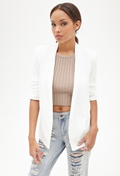 Forever 21 Ruched Sleeve Textured Blazer