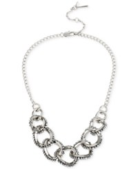 Kenneth Cole New York Woven Faceted Bead Link Frontal Necklace Silver