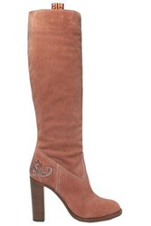 Etro Woman Embroidered Suede Knee Boots Antique Rose