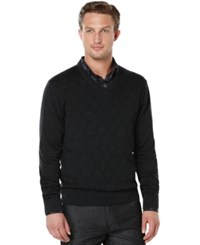 Perry Ellis Textured Argyle V Neck Sweater Charcoal Heather