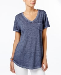 Style And Co Petite Burnout V Neck T Shirt Only At Macy's Industrial Blue