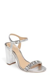 Badgley Mischka Women's Hendricks Embellished Block Heel Sandal Silver Leather
