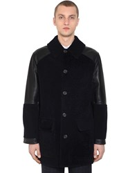 Alexander Mcqueen Leather And Shearling Jacket Navy