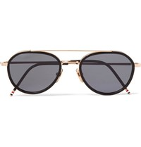 Thom Browne Aviator Style Acetate And Gold Tone Sunglasses Black