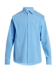 Marni Shoulder Pleat Cotton Poplin Shirt Light Blue