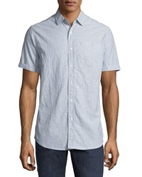 Report Collection Short Sleeve Checkered Oxford Shirt Blue