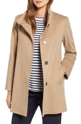 Fleurette Placket Front Wool Car Coat Camel