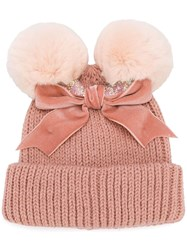 Ca4la Pom Pom Beanie Hat Pink And Purple